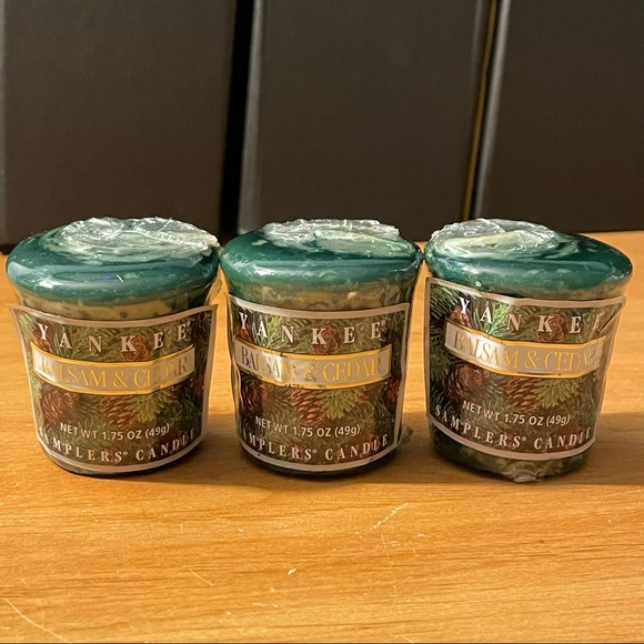 3 YANKEE CANDLE BALSAM & CEDAR VOTIVE CANDLES
